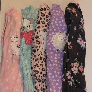Carters baby girl fleece sleepers 6months